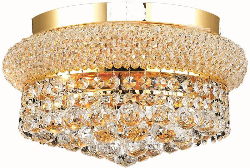 ZC121-V1800F12G/EC By Elegant Lighting - Primo Collection Gold Finish 4 Lights Flush Mount