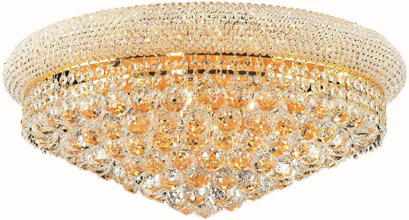 ZC121-V1800F24G/EC By Elegant Lighting - Primo Collection Gold Finish 12 Lights Flush Mount