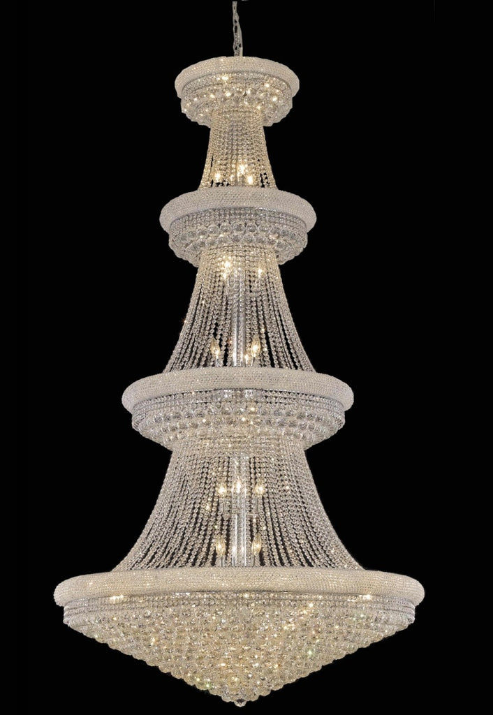 ZC121-V1800G48C/EC By Elegant Lighting Primo Collection 42 Light Chandeliers Chrome Finish