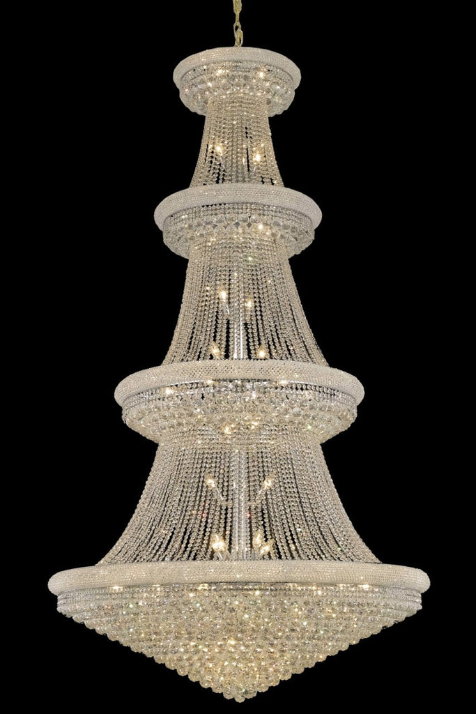 ZC121-V1800G54C/EC By Elegant Lighting Primo Collection 48 Light Chandeliers Chrome Finish