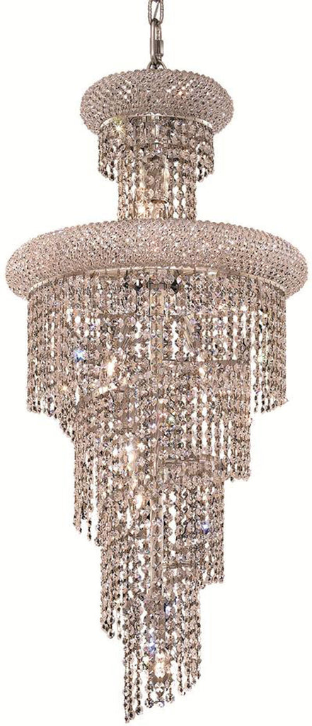 ZC121-V1800SR16C/EC By Elegant Lighting - Spiral Collection Chrome Finish 10 Lights Dining Room