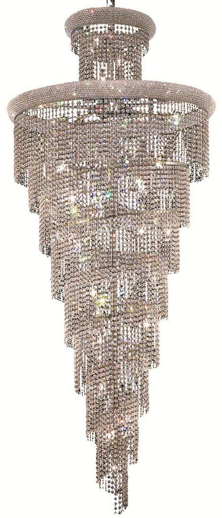 ZC121-V1800SR36C/EC By Elegant Lighting - Spiral Collection Chrome Finish 32 Lights Foyer/Hallway
