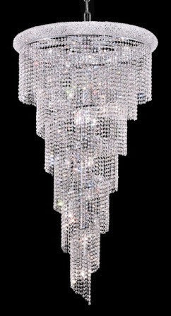 ZC121-V1801SR30C By Regency Lighting-Spiral Collection Chrome Finish 22 Lights Chandelier
