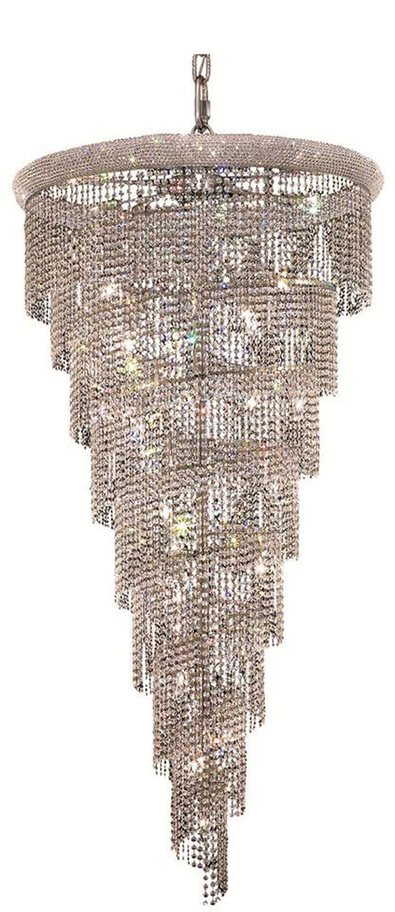 ZC121-V1801SR36C/EC By Elegant Lighting - Spiral Collection Chrome Finish 26 Lights Foyer/Hallway