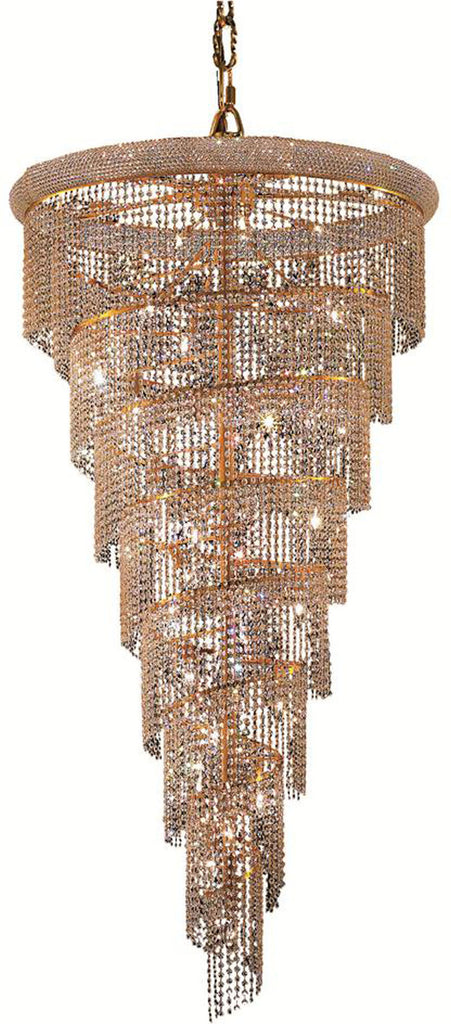 ZC121-V1801SR36G/EC By Elegant Lighting - Spiral Collection Gold Finish 26 Lights Foyer/Hallway
