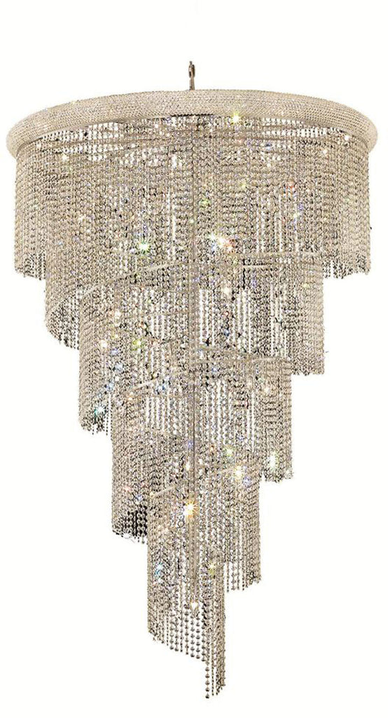 ZC121-V1801SR48C By Regency Lighting-Spiral Collection Chrome Finish 29 Lights Chandelier