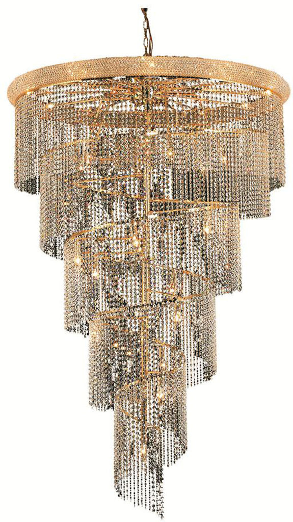 ZC121-V1801SR48G/EC By Elegant Lighting - Spiral Collection Gold Finish 29 Lights Foyer/Hallway