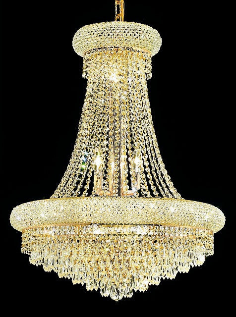 C121-1802D24G/EC By Elegant Lighting Primo Collection 14 Lights Chandelier Gold Finish