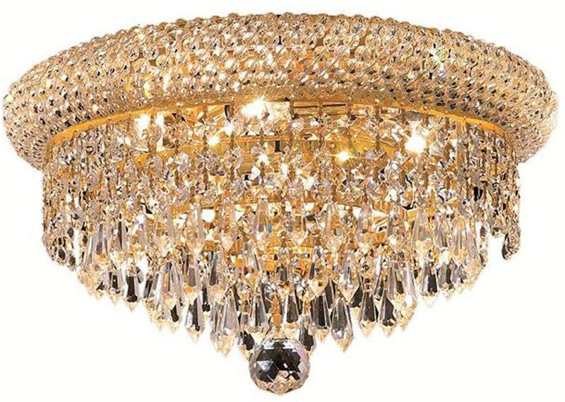 ZC121-1802F14G/EC By Regency Lighting - Primo Collection Gold Finish 6 Lights Flush Mount