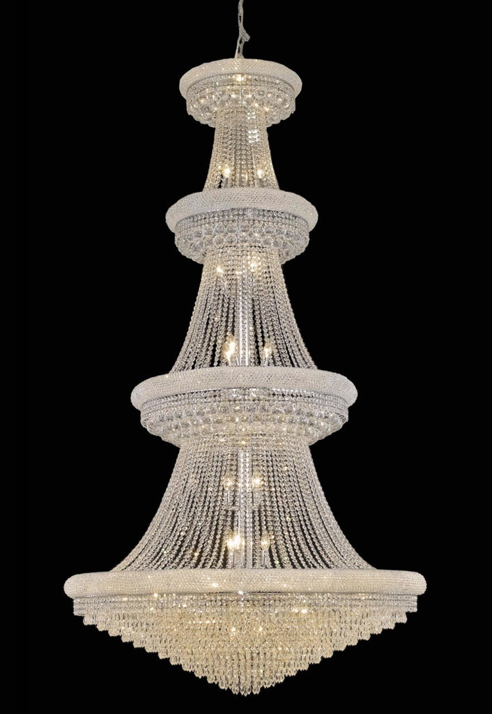 C121-1802G48C/RC By Elegant Lighting Primo Collection 42 Light Chandeliers Chrome Finish
