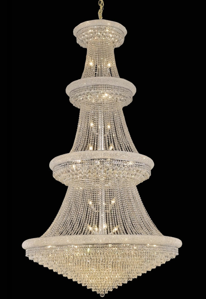 C121-1802G54C/RC By Elegant Lighting Primo Collection 48 Light Chandeliers Chrome Finish