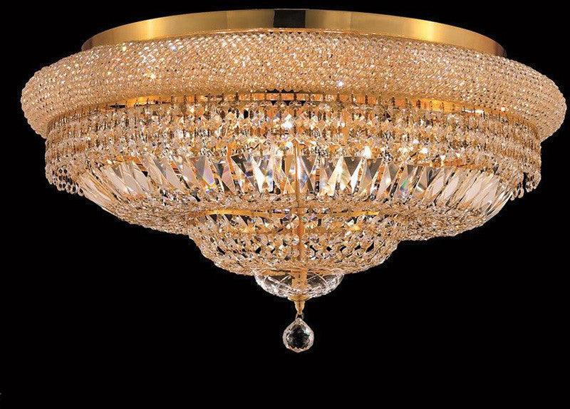 ZC121-1803F28G/EC By Regency Lighting - Primo Collection Gold Finish 15 Lights Flush Mount