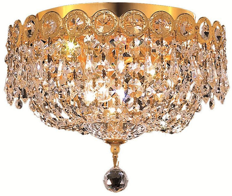 ZC121-V1900F10G/EC By Elegant Lighting - Century Collection Gold Finish 3 Lights Flush Mount