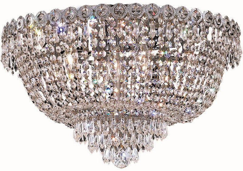 ZC121-V1900F20C/EC By Elegant Lighting - Century Collection Chrome Finish 9 Lights Flush Mount