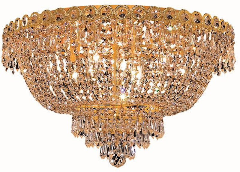 ZC121-V1900F20G/EC By Elegant Lighting - Century Collection Gold Finish 9 Lights Flush Mount