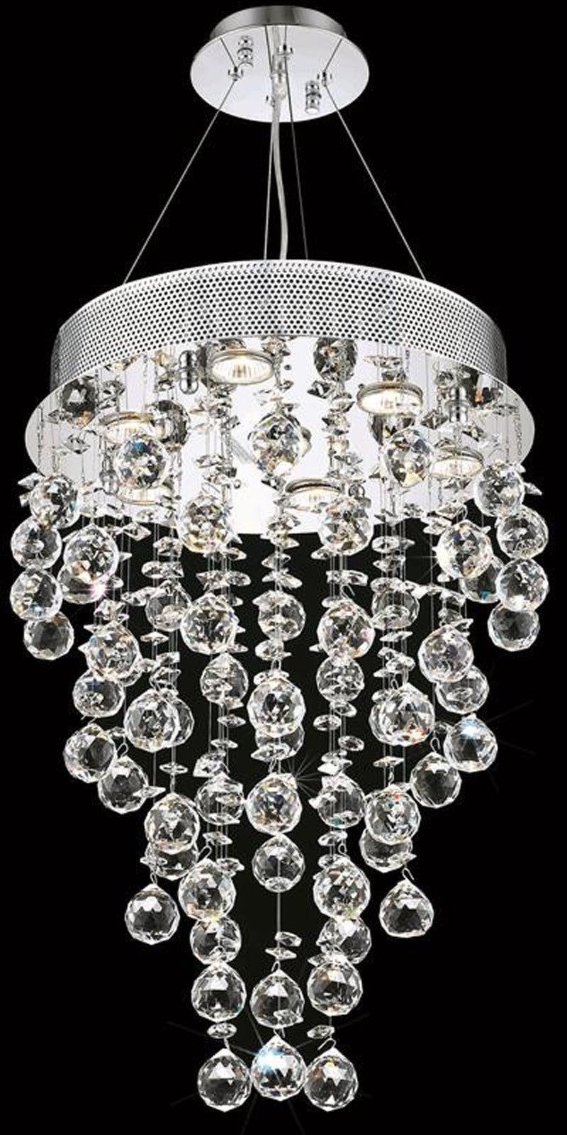 C121-2006D16C(LED)/EC By Elegant Lighting - Galaxy Collection Chrome Finish 7 Lights Dining Room