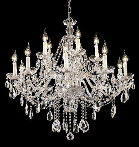 C121-7829G35C/RC By Elegant Lighting Alexandria Collection 15 Light Chandeliers Chrome Finish