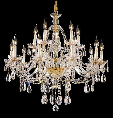 C121-7829G35G/RC By Elegant Lighting Alexandria Collection 15 Light Chandeliers Gold Finish