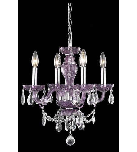 C121-7834D17PE/RC+SH By Elegant Lighting Princeton Collection 4 Light Pendant Purple Finish