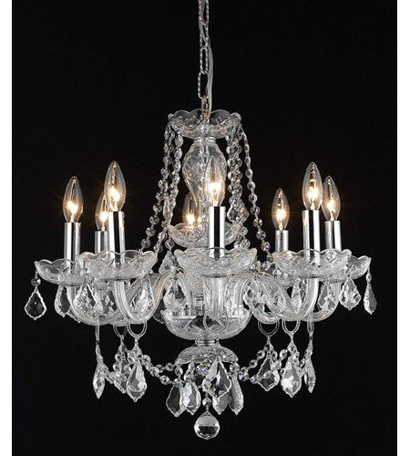 C121-7838D20C/RC+SH By Elegant Lighting Princeton Collection 8 Light Dining Room Chrome Finish
