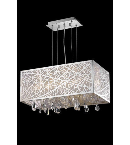 C121-7901D21C/RC By Elegant Lighting Mirage Collection 4 Light Dining Room Chrome Finish