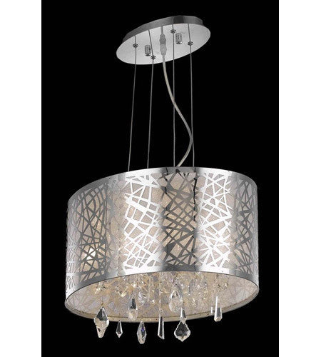 C121-7902D17C/RC By Elegant Lighting Mirage Collection 3 Light Dining Room Chrome Finish