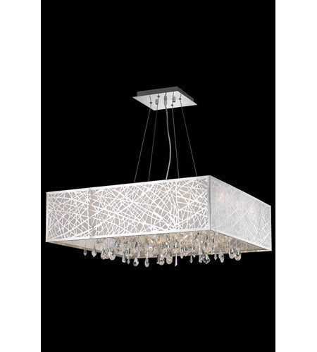 C121-7904D32C/RC By Elegant Lighting Mirage Collection 13 Light Dining Room Chrome Finish