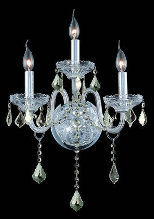 C121-7953W3C-GT By Regency Lighting-Verona Collection Chrome Finish 3 Lights Wall Sconce