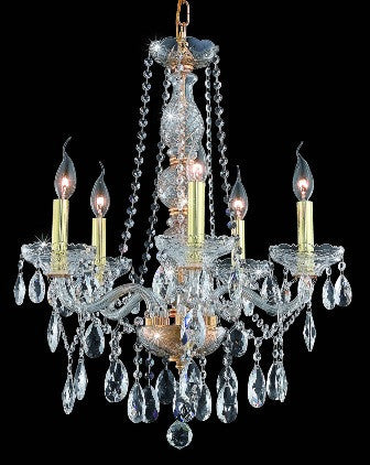 C121-7955D21G/EC By Elegant Lighting Verona Collection 5 Lights Chandelier Gold Finish