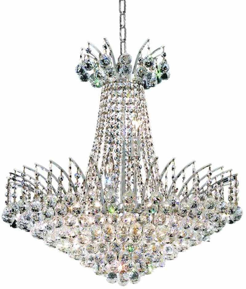 ZC121-V8031D24C/EC By Elegant Lighting - Victoria Collection Chrome Finish 11 Light Dining Room