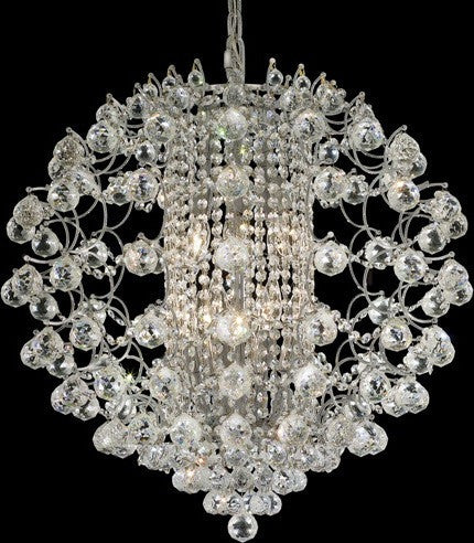 C121-8064D24C/RC By Elegant Lighting St. Ives Collection 12 Lights Chandelier Chrome Finish