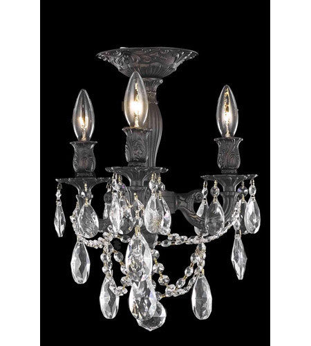 C121-8203F13DB/RC By Elegant Lighting Rosalia Collection 3 Light Flush Mount Dark Bronze Finish