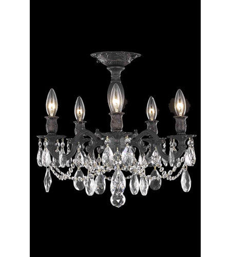 C121-8205F18DB/RC By Elegant Lighting Rosalia Collection 5 Light Flush Mount Dark Bronze Finish
