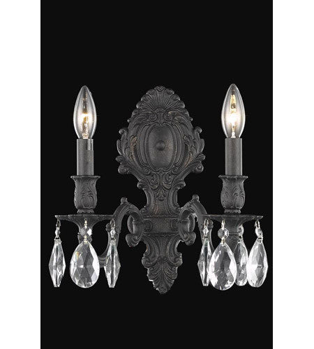 C121-8602W10DB/RC By Elegant Lighting Monarch Collection 2 Light Wall Sconce Dark Bronze Finish