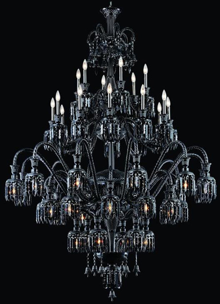 C121-8948G60B-JT/EC By Elegant Lighting - Majestic Collection Black Finish 48 Lights Foyer/Hallway
