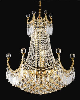 ZC121-V8949D20G By Regency Lighting-Corona Collection Gold Finish 9 Lights Chandelier