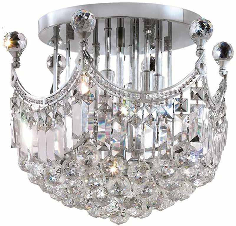 ZC121-V8949F16C/EC By Elegant Lighting - Corona Collection Chrome Finish 6 Lights Flush Mount