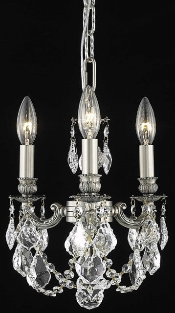 C121-9103D10PW/RC By Elegant Lighting Lillie Collection 3 Light Chandeliers Pewter Finish