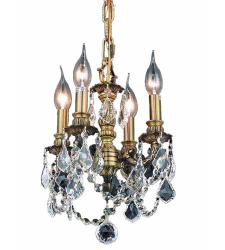 C121-9104D10AB-GT/RC By Elegant Lighting Lille Collection 3 Light Pendant Antique Bronze Finish