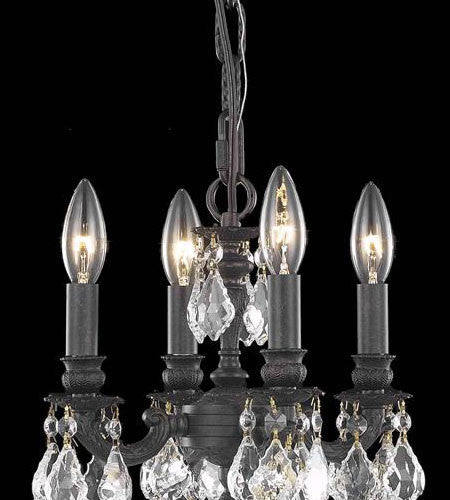 C121-9104D10DB-GT/RC By Elegant Lighting Lille Collection 3 Light Pendant Dark Bronze Finish