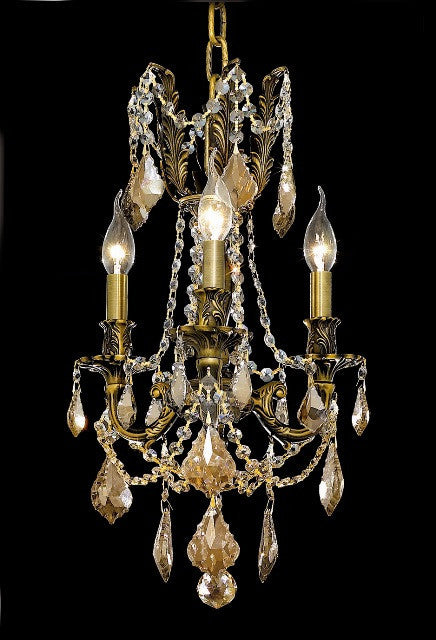C121-9203D13AB-GT/RC By Elegant Lighting Rosalia Collection 3 Lights Chandelier Antique Bronze Finish