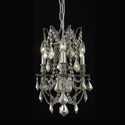 C121-9203D13DB-GT/RC By Elegant Lighting Rosalia Collection 3 Lights Chandelier Dark Bronze Finish
