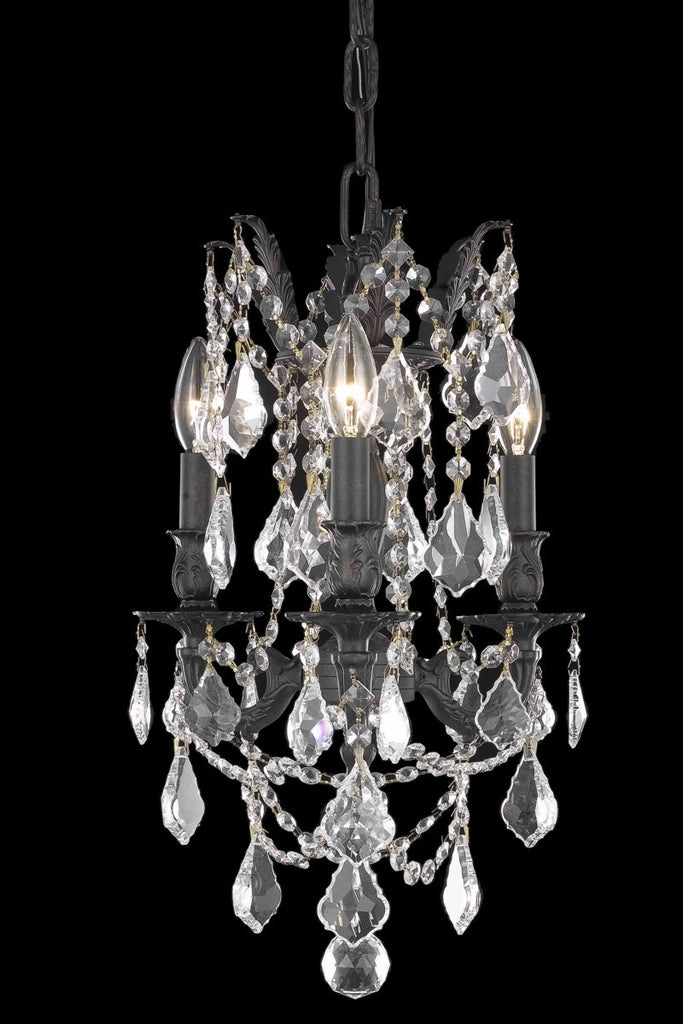 C121-9203D13DB/RC By Elegant Lighting Rosalia Collection 3 Light Chandeliers Dark Bronze Finish