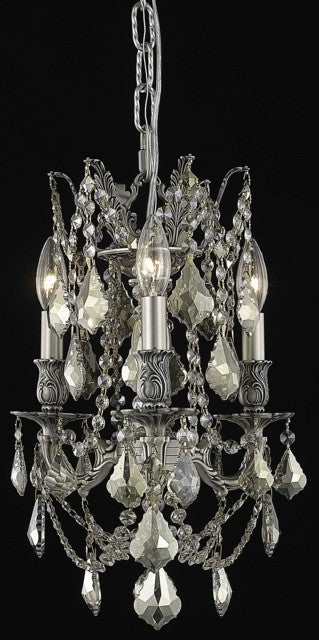 C121-9203D13PW-GT/RC By Elegant Lighting Rosalia Collection 3 Light Chandeliers Pewter Finish
