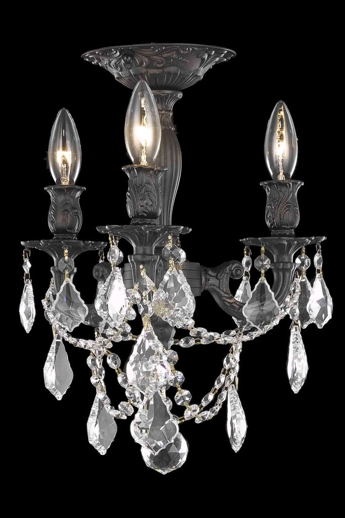 C121-9203F13DB/RC By Elegant Lighting Rosalia Collection 3 Light Flushmount Dark Bronze Finish