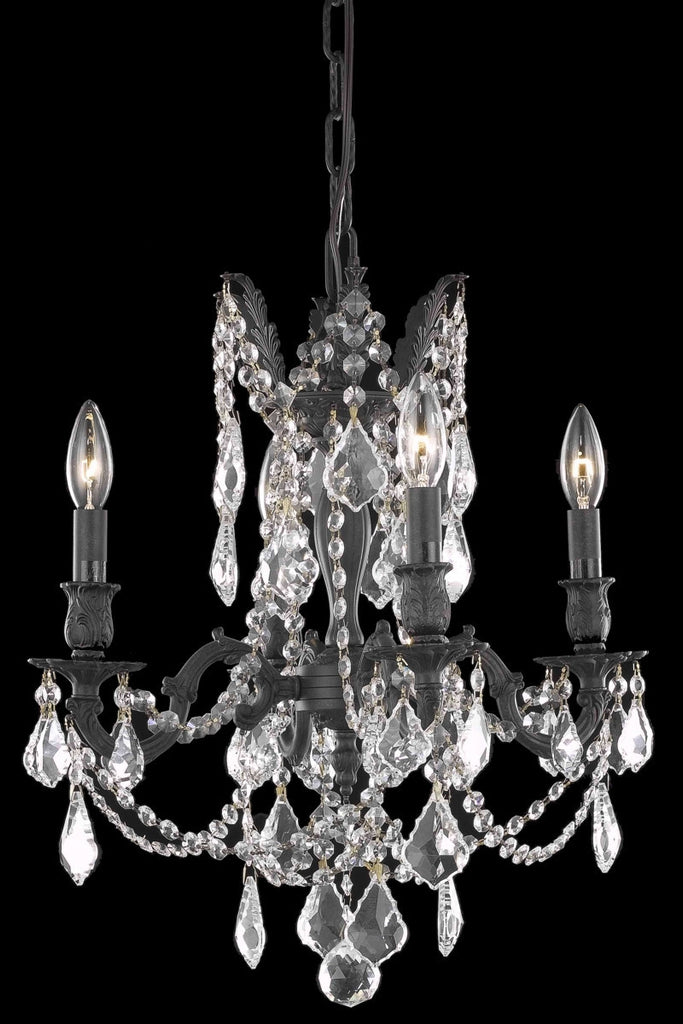 C121-9204D17DB/RC By Elegant Lighting Rosalia Collection 4 Light Chandeliers Dark Bronze Finish