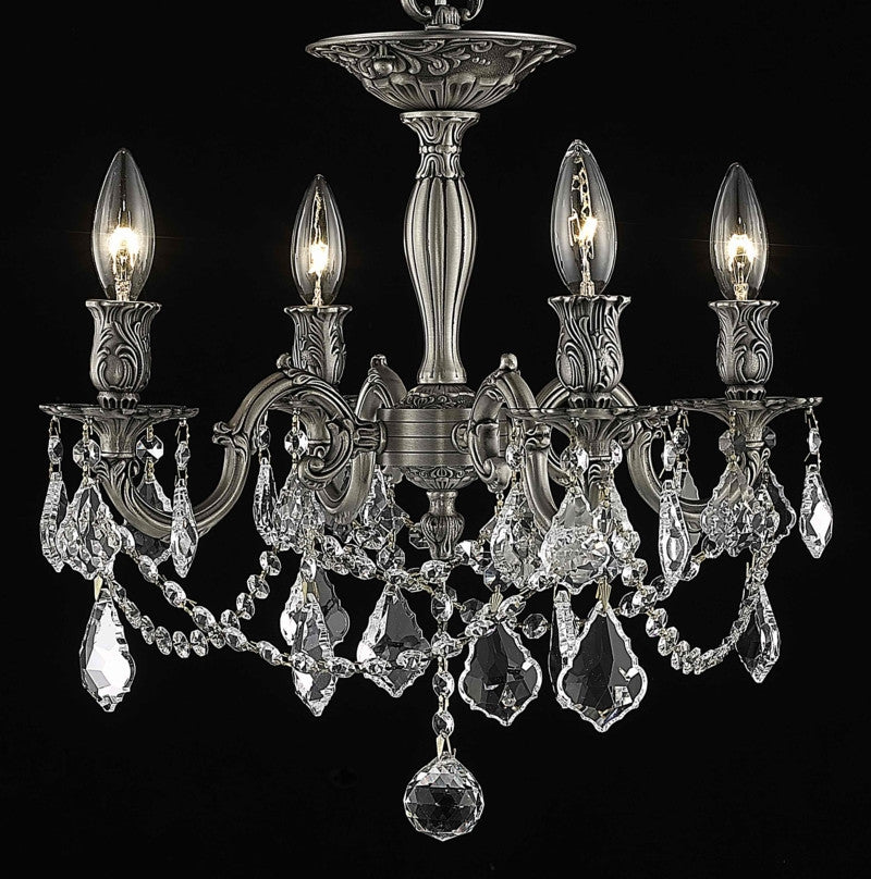 C121-9204F17PW/RC By Elegant Lighting Rosalia Collection 4 Light Flushmount Pewter Finish