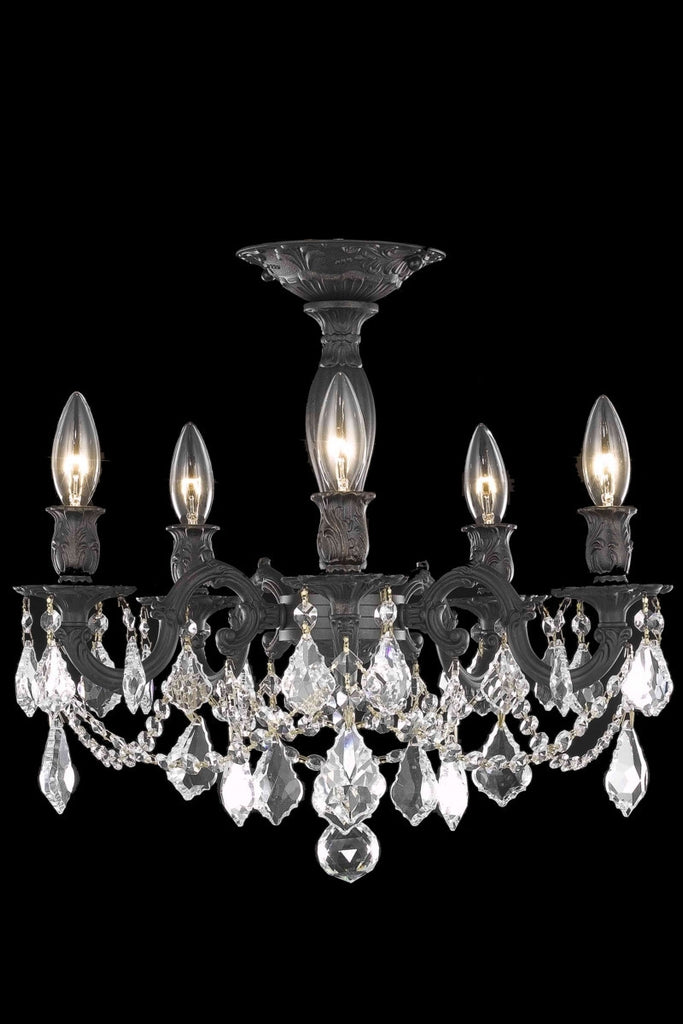 C121-9205F18DB/RC By Elegant Lighting Rosalia Collection 5 Light Chandeliers Dark Bronze Finish