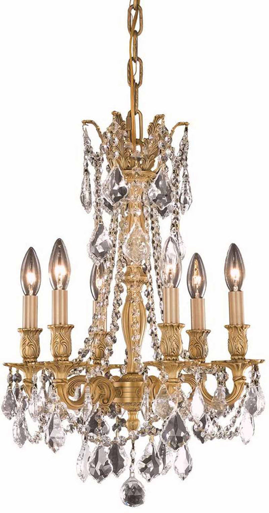 C121-9206D16FG/RC By Elegant Lighting Rosalia Collection 6 Light Pendant French Gold Finish