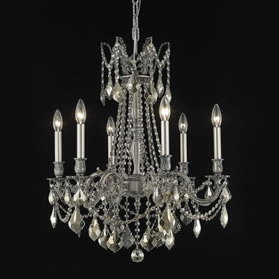 C121-9206D23DB-GT/RC By Elegant Lighting Rosalia Collection 6 Lights Chandelier Dark Bronze Finish